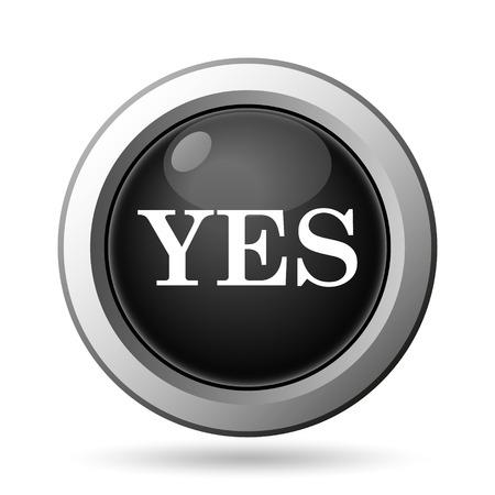 yea: Yes icon. Internet button on white background.