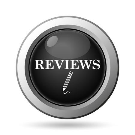 worthy: Reviews icon. Internet button on white background. Stock Photo