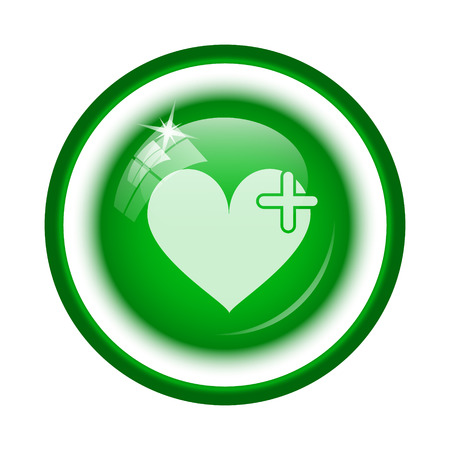Heart with cross icon. Internet button on white background. photo