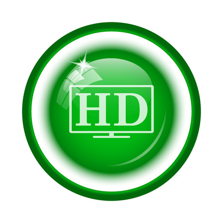 hd tv: HD TV icon. Internet button on white background.