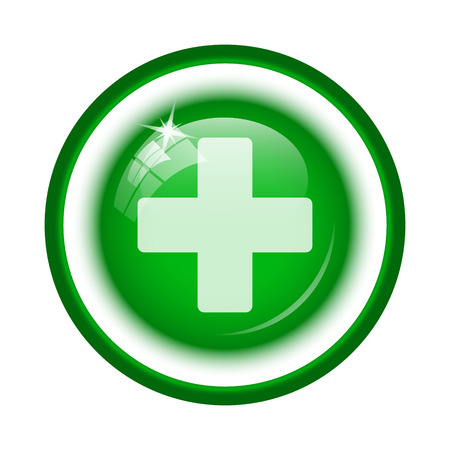 Medical cross icon. Internet button on white background. Stock Photo