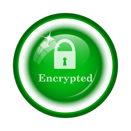 encrypted: Encrypted icon. Internet button on white background. Stock Photo