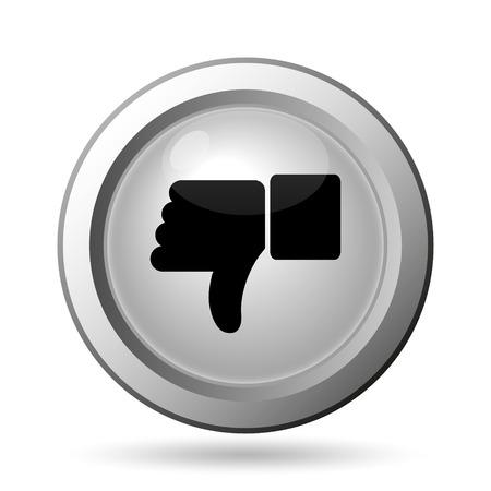 Thumb down icon. Internet button on white background.
