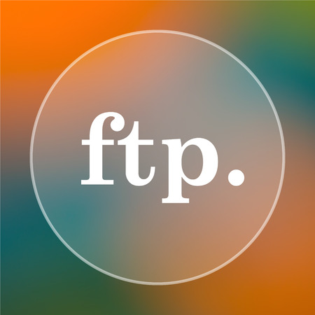ftp: ftp. icon. Internet button on colored  background.