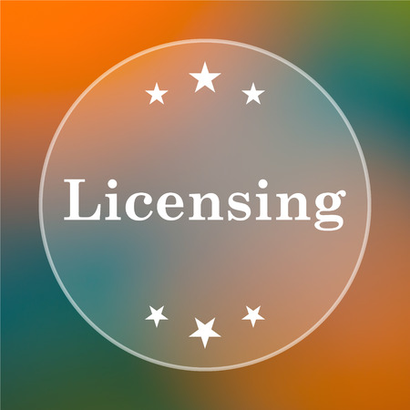 licensing: Licensing icon. Internet button on colored  background. Stock Photo