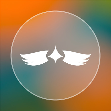 chastity: Wings icon. Internet button on colored  background. Stock Photo