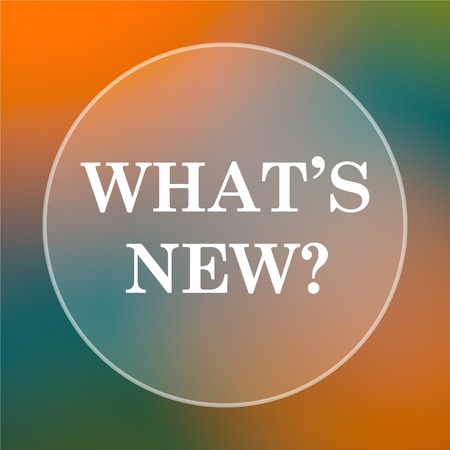 Whats new icon. Internet button on colored  background. Фото со стока