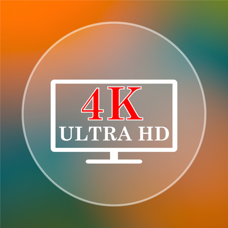 ultra: 4K ultra HD icon. Internet button on colored  background. Stock Photo