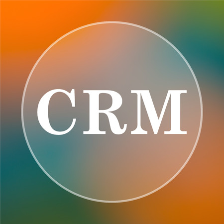 crm: CRM icon. Internet button on colored  background. Stock Photo