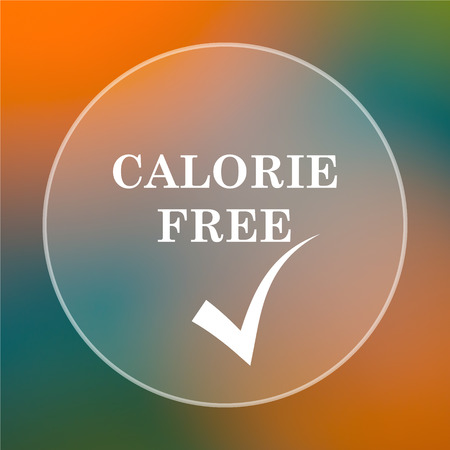 calorie: Calorie free icon. Internet button on colored  background.