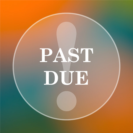 past due: Past due icon. Internet button on colored  background. Stock Photo