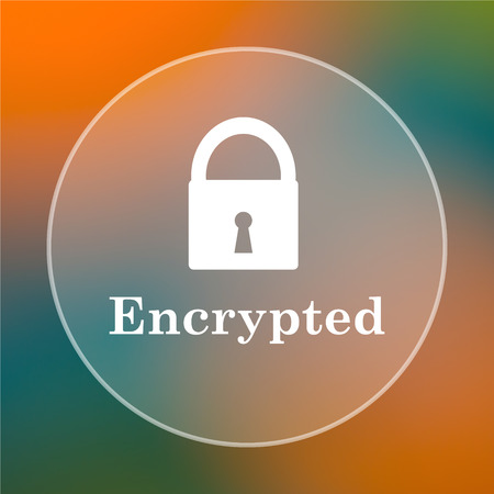 encrypted: Encrypted icon. Internet button on colored  background. Stock Photo