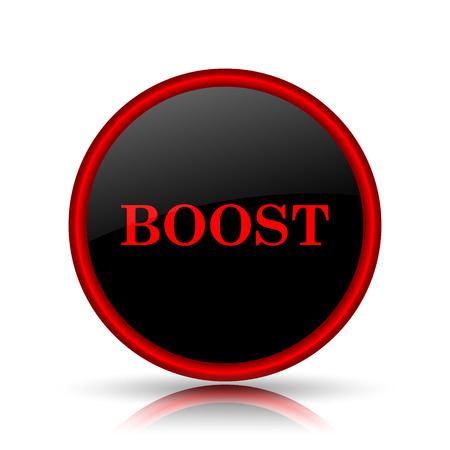 booster: Boost icon. Internet button on white background. Stock Photo