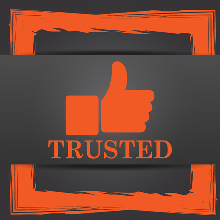 trusted: Trusted icon. Internet button on grey background.