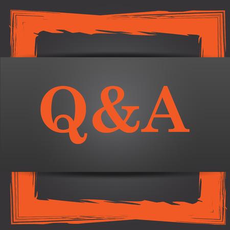 qa: Q&A icon. Internet button on grey background. Stock Photo