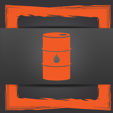 barrell: Oil barrel icon. Internet button on grey background.