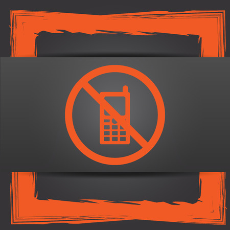 use regulations: Mobile phone restricted icon. Internet button on grey background. Stock Photo