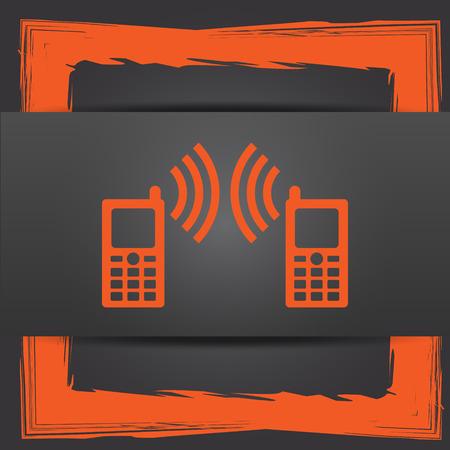 icono comunicacion: Icono de la comunicaci�n. Bot�n de internet sobre fondo gris.