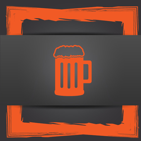 Beer icon. Internet button on grey background. Stock Photo
