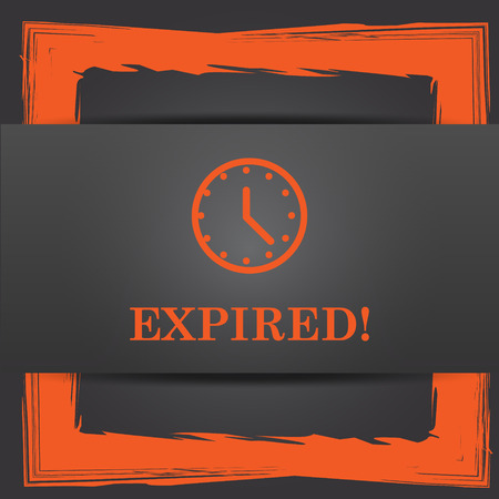 expired: Expired icon. Internet button on grey background.