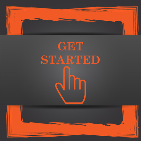 Get started icon. Internet button on grey background. Stock Photo