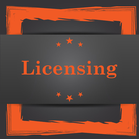 licensing: Licensing icon. Internet button on grey background.