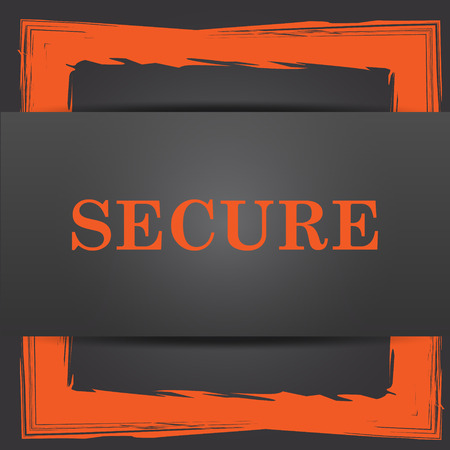 secure: Secure icon. Internet button on grey background.