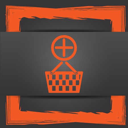 Add to basket icon. Internet button on grey background. photo