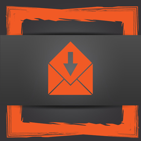 receive: Receive e-mail icon. Internet button on grey background.