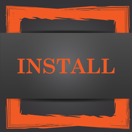 operative: Install icon. Internet button on grey background.