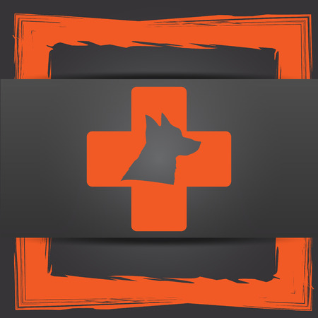veterinary icon: Veterinary icon. Internet button on grey background.
