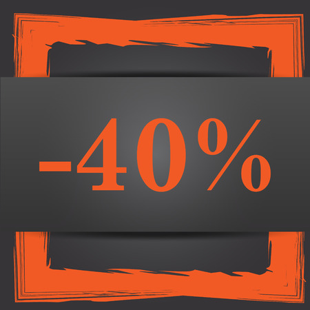 40: 40 percent discount icon. Internet button on grey background.