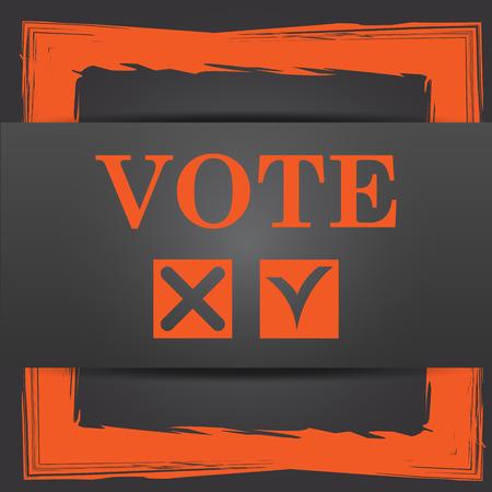 vote icon: Vote icon. Internet button on grey background.