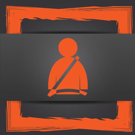 cinturon seguridad: Icono del cinturón de seguridad. Botón de internet sobre fondo gris.