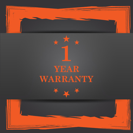 1 year warranty: 1 year warranty icon. Internet button on grey background.