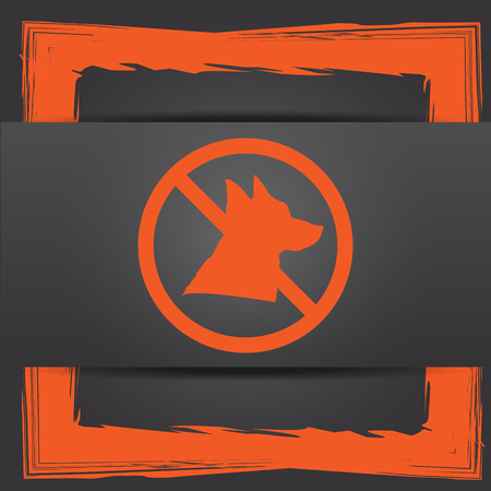 refused: Forbidden dogs icon. Internet button on grey background.