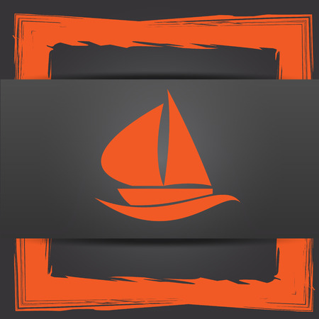 3d sail boat: Sailboat icon. Internet button on grey background.