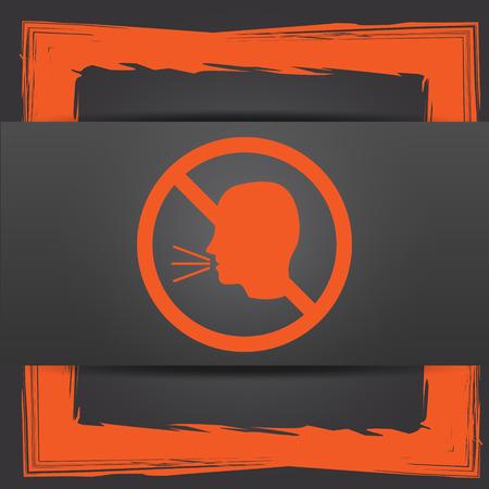 no talking: No talking icon. Internet button on grey background.