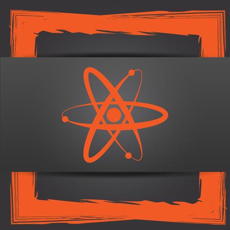 gamma radiation: Atoms icon. Internet button on grey background.