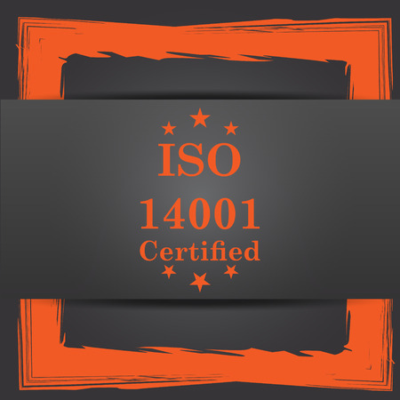 certify: ISO14001 icon. Internet button on grey background.