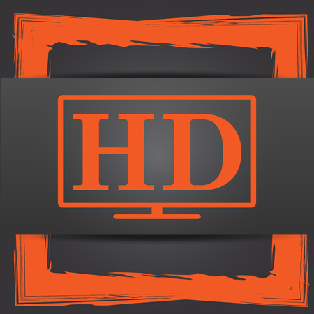 full hd: HD TV icon. Internet button on grey background.