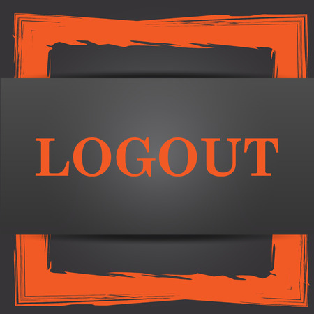 logout: Logout icon. Internet button on grey background.