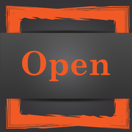 available time: Open icon. Internet button on grey background. Stock Photo