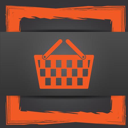 Shopping basket icon. Internet button on grey background. photo