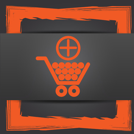 Add to shopping cart icon. Internet button on grey background. photo