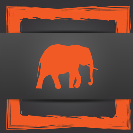 endanger: Elephant icon. Internet button on grey background.