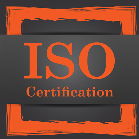 certification: ISO certification icon. Internet button on grey background.