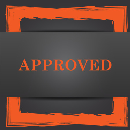 approved icon: Approved icon. Internet button on grey background.