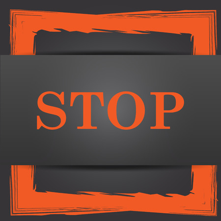 run off: Stop icon. Internet button on grey background. Stock Photo