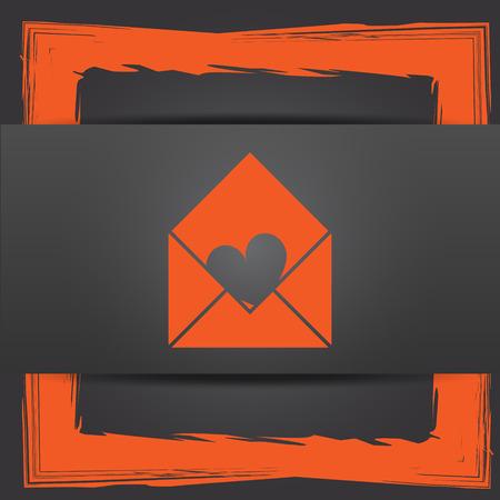Send love icon. Internet button on grey background. photo